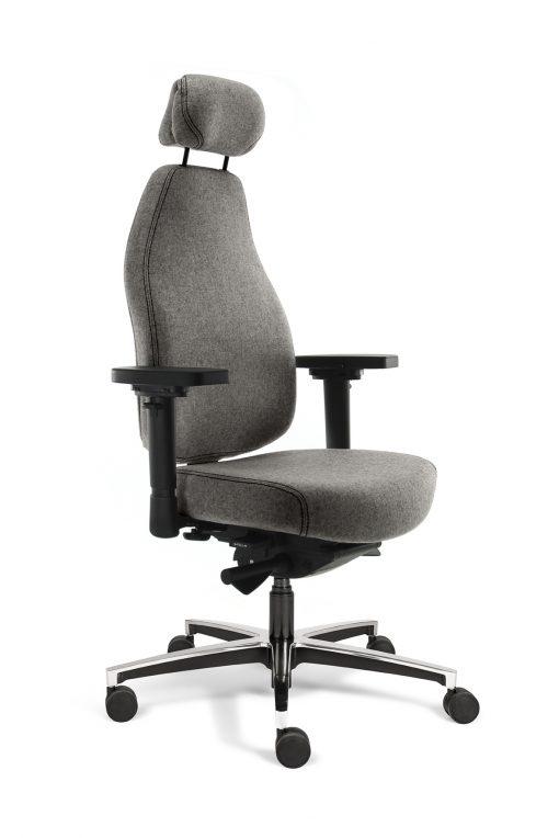 Bureaustoel grijs met hoofdsteun