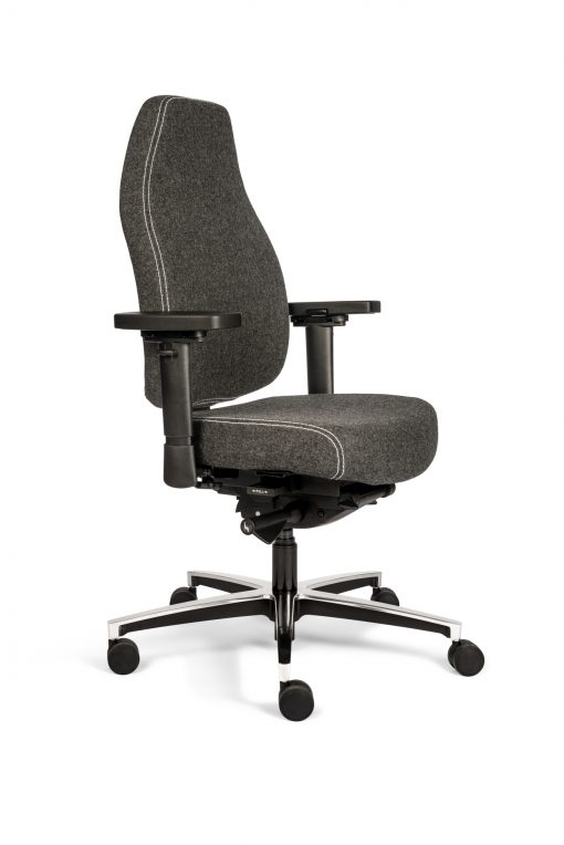 bureaustoel hoge rug donkergrijs